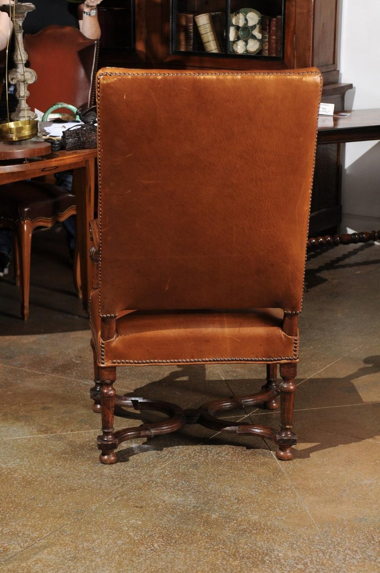 French Louis XIV Style Late 19th Century Beech Fauteuil with Leather Upholstery For Sale 5