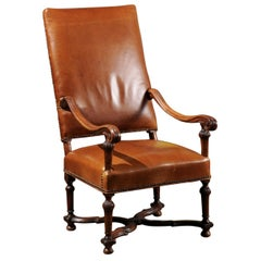 French Louis XIV Style Late 19th Century Beech Fauteuil with Leather Upholstery