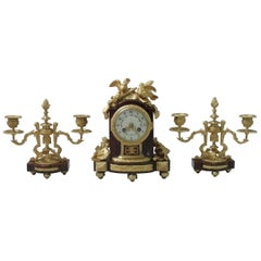 French Louis XIV Style Marble and Bronze Gilt Clock Set with Candelabra