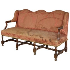 French Louis XIV Three-Seat Walnut Sofa
