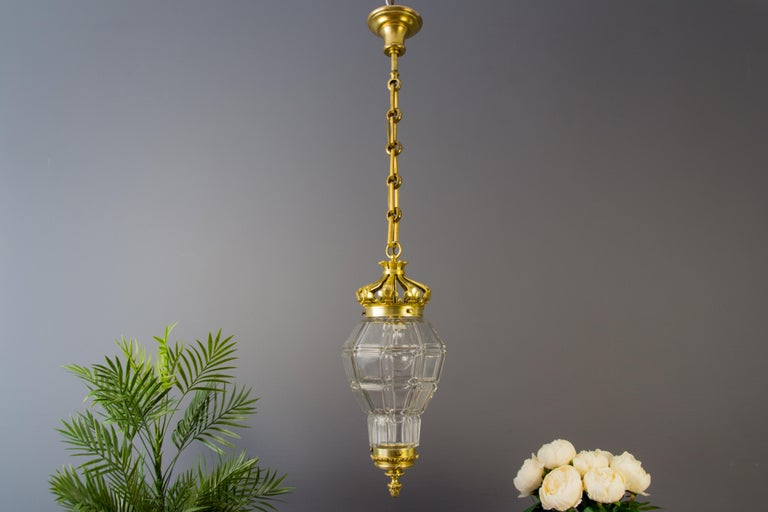 "Beautiful French Louis XIV ""Versailles"" style bronze and clear glass hall lantern, ceiling lamp from the 1920s. In very good condition. One socket for the E27 (E26) size light bulb. Measures: Height is 35.43 inches / 90 cm; diameter - 8.26 inches /"