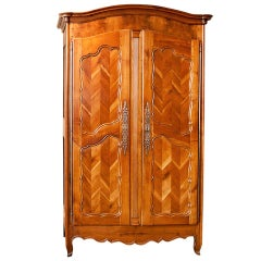 """Antique French Louis XV Style Armoire in Cherrywood w Chevron or """"fougère Panels"""