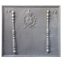 French Louis XV Arms of France Fireback, 18th Century
