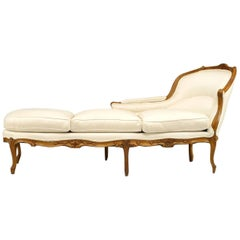 French Louis XV Beechwood Chaise Lounge