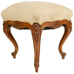 French Louis XV Beige Upholstered Bench