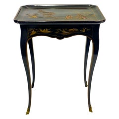French Louis XV Black and Gilt Lacquered Coromandel Tray Table, 18th Century