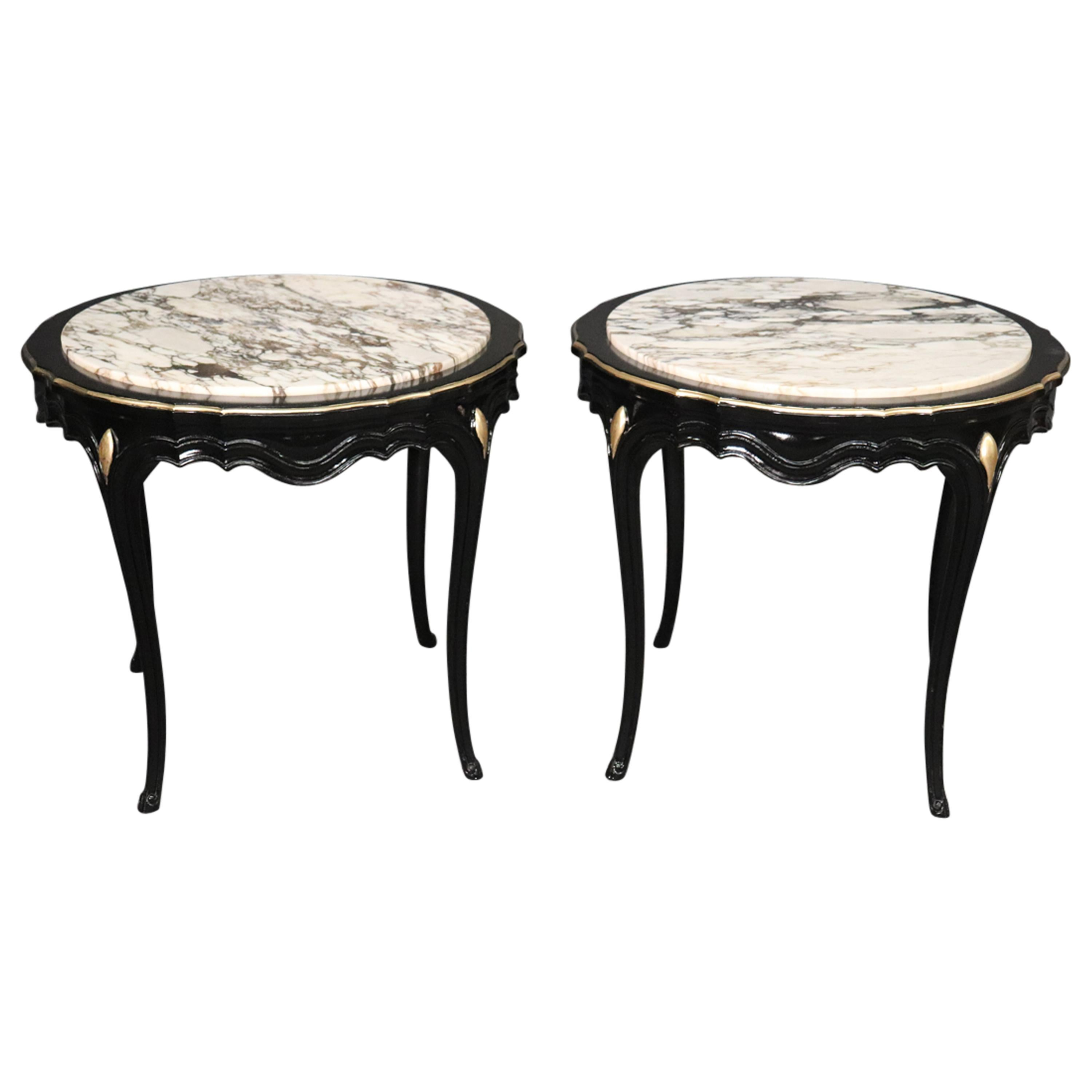 French Louis XV Black Lacquer and Marble-Top Geuridons End Tables, circa 1940s