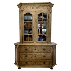 French Louis XV Bleached Oak Buffet a Deux-Corps