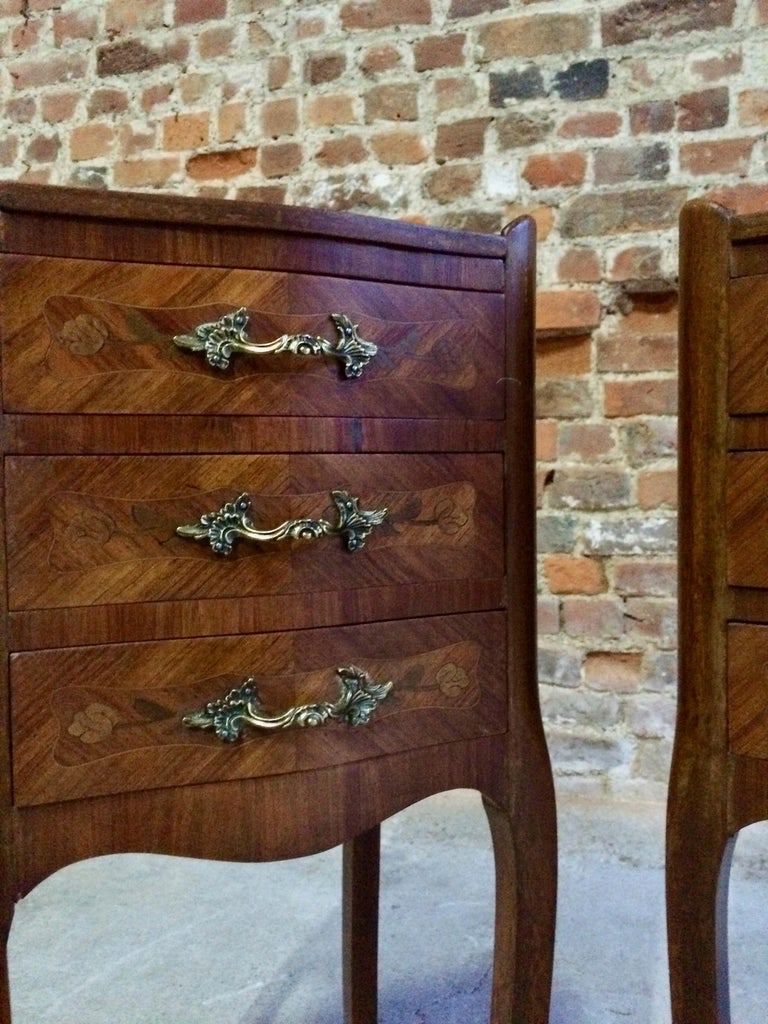 French Louis Xv Bombe Commode Bedside Cabinets Tables Tray