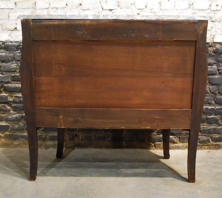 French Louis XV Bombe Commode in Mahogany with Marble Top For Sale 9