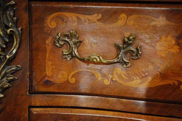 French Louis XV Bombe Commode in Mahogany with Marble Top For Sale 4