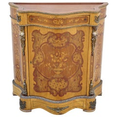 French Louis XV Bronze Ormolu Satinwood Inlay Commode Sideboard Bombe Cabinet
