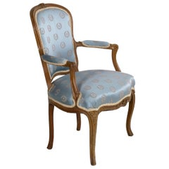 French Louis XV Carved Antique Armchair, circa 18th Century