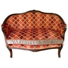 French Louis XV Carved Mahogany Loveseat Settee Modern Upholstery