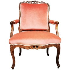 French Louis XV Carved Walnut Fauteuil, Mid-18th Century
