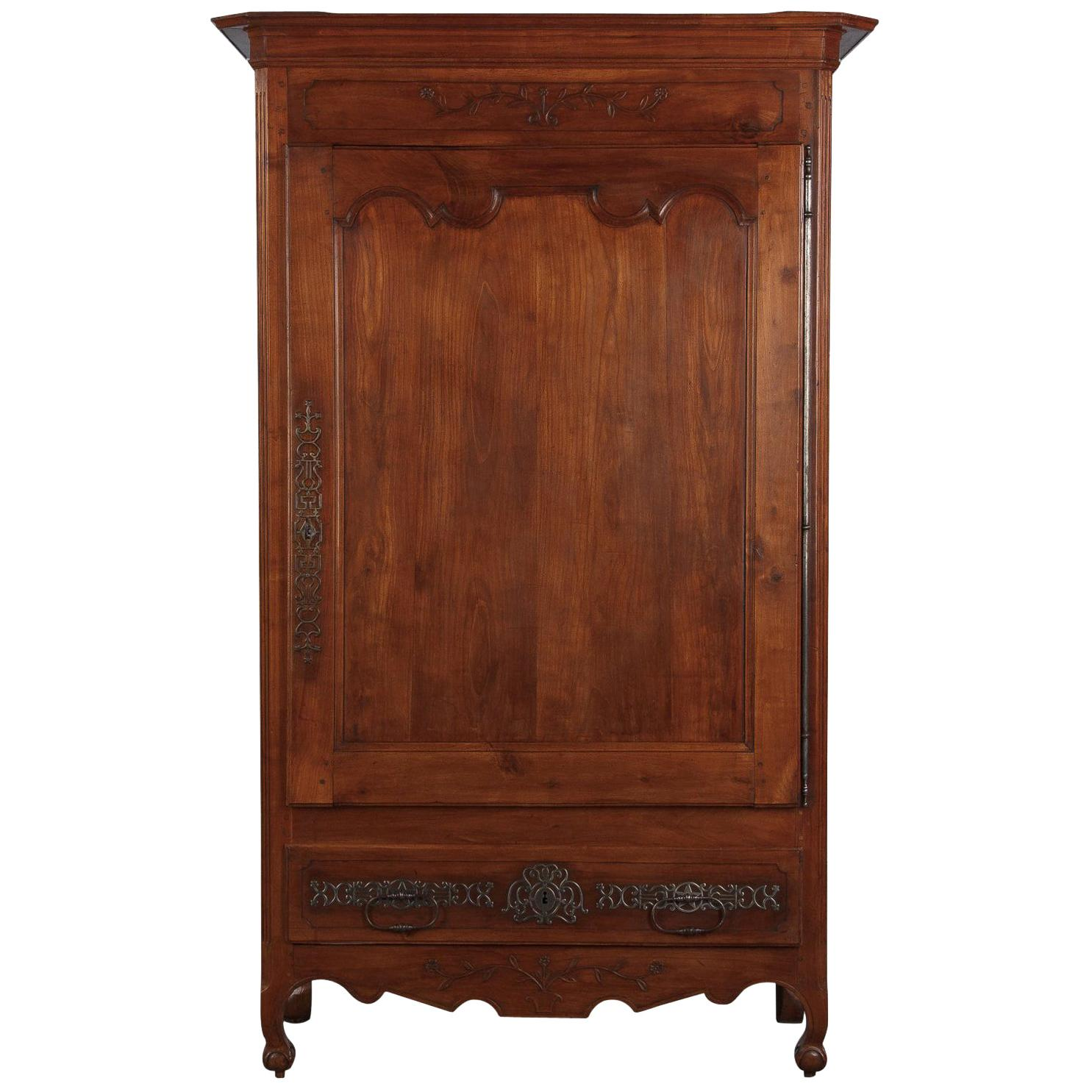 French Louis XV Cherrywood Bonnetiere Armoire, 18th Century
