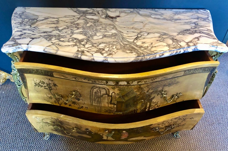 French Louis XV Chinoiserie Commode with a Bombe Shape and Marble Top  For Sale 10