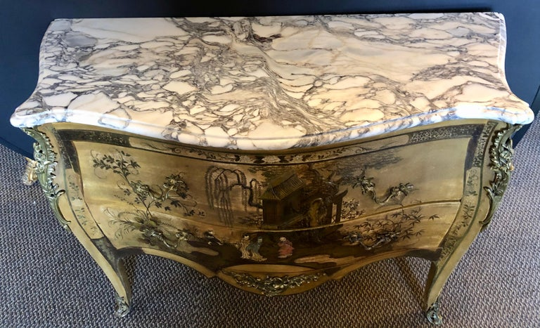 Mid-20th Century French Louis XV Chinoiserie Commode with a Bombe Shape and Marble Top  For Sale