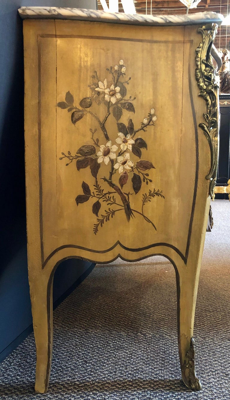 French Louis XV Chinoiserie Commode with a Bombe Shape and Marble Top  For Sale 1