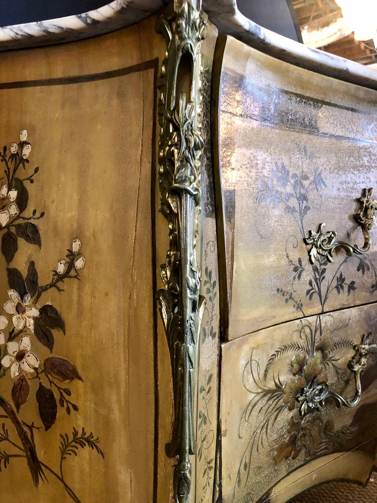 French Louis XV Chinoiserie Commode with a Bombe Shape and Marble Top  For Sale 3