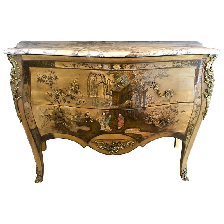 French Louis XV Chinoiserie Commode with a Bombe Shape and Marble Top  For Sale