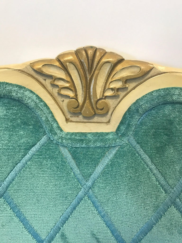 French Louis XV Cream Painted Carved Turquoise Bergère Armchair Chair For Sale 1