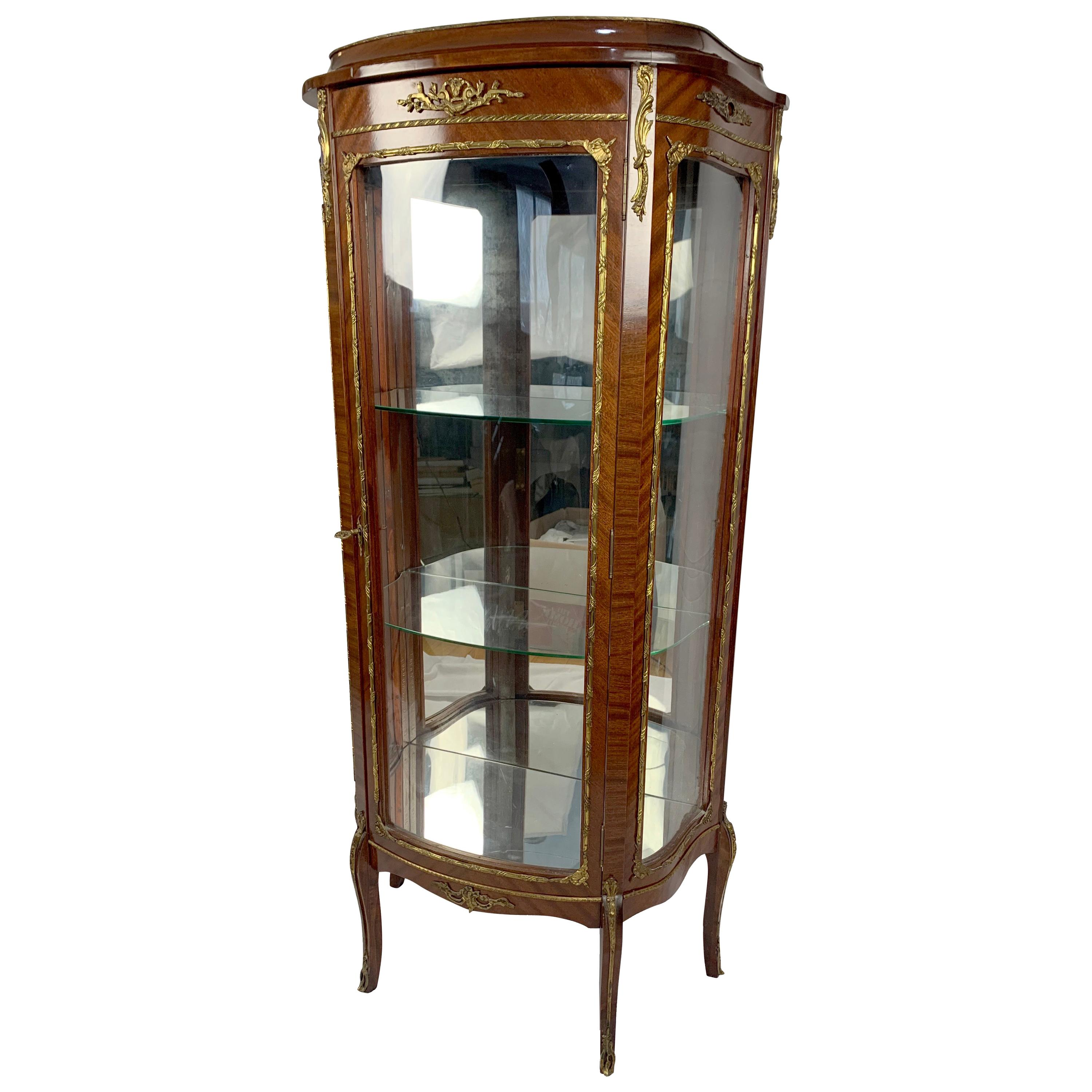 French Louis XV Display Cabinet Vitrine with Bronze Mounts