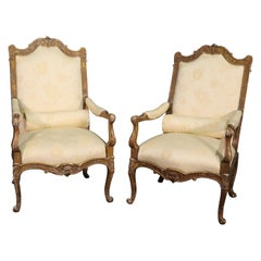 French Louis XV Distressed Painted Armchairs Fautueills, circa 1920s
