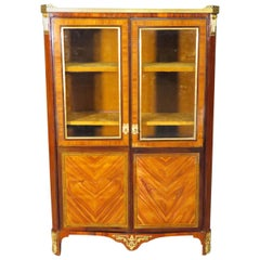 French Louis XV Dore' Bronze Mounted Marble Top Bookcase Biblioteque circa 1890s
