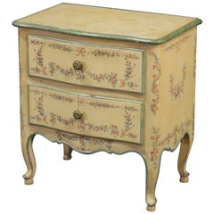 French Louis XV Floral Paint Decorated Nightstand Commode, circa 1940