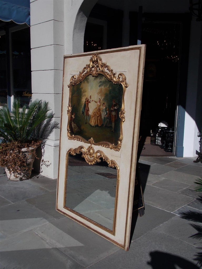 Hand-Carved French Louis XV Gilt and Painted Decorative Floral Trumeau Mirror, Circa 1750 For Sale