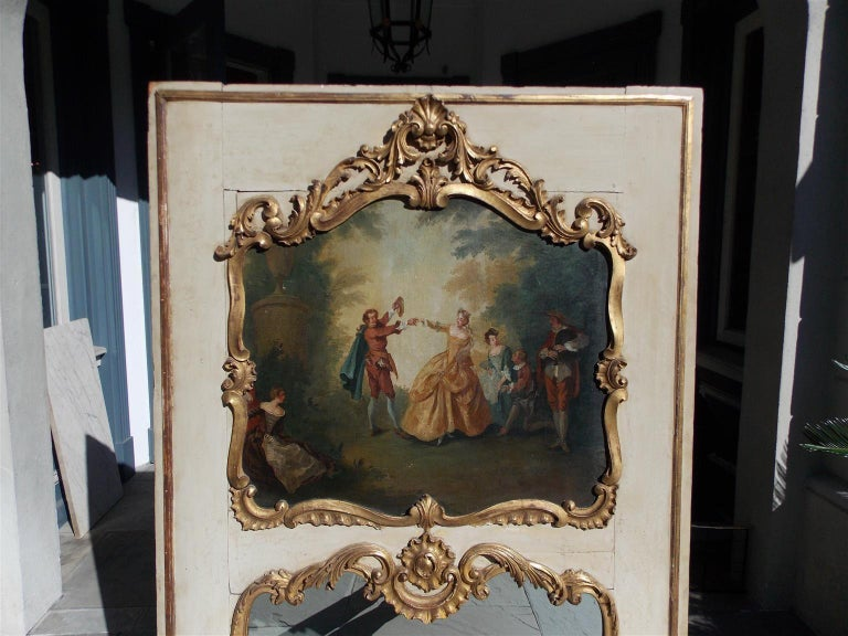 French Louis XV Gilt and Painted Decorative Floral Trumeau Mirror, Circa 1750 In Excellent Condition For Sale In Charleston, SC