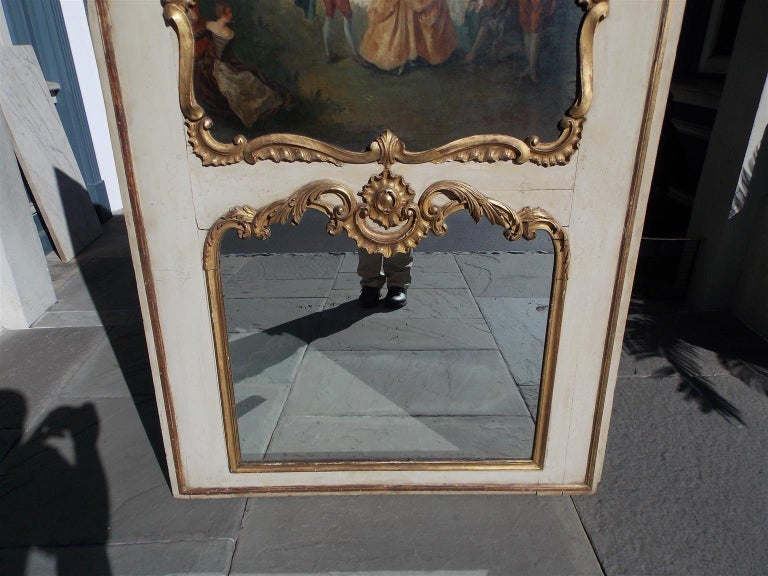 Mid-18th Century French Louis XV Gilt and Painted Decorative Floral Trumeau Mirror, Circa 1750 For Sale