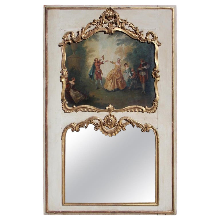 French Louis XV Gilt and Painted Decorative Floral Trumeau Mirror, Circa 1750 For Sale