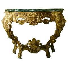 French Louis XV Giltwood Console, 18th Century, Green Marble Top