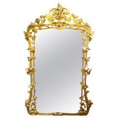 French Louis XV Giltwood Wall Mirror With Grapes & Vines Motif