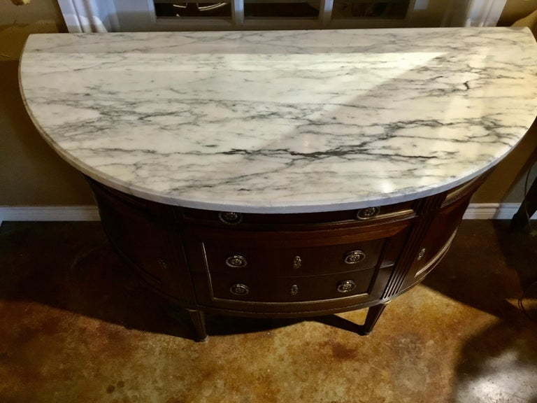French Louis XVI Style White Marble Top Demilune Cabinet, Mahogany Case In Good Condition For Sale In Houston, TX