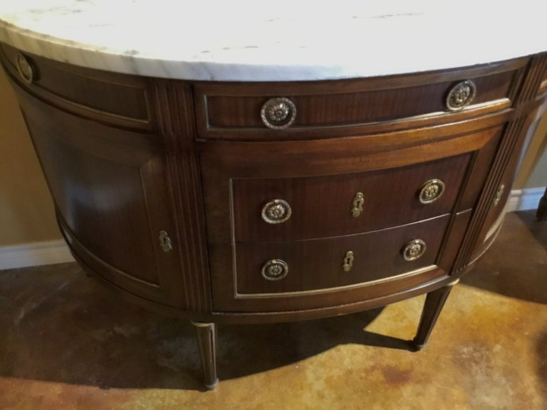 20th Century French Louis XVI Style White Marble Top Demilune Cabinet, Mahogany Case For Sale