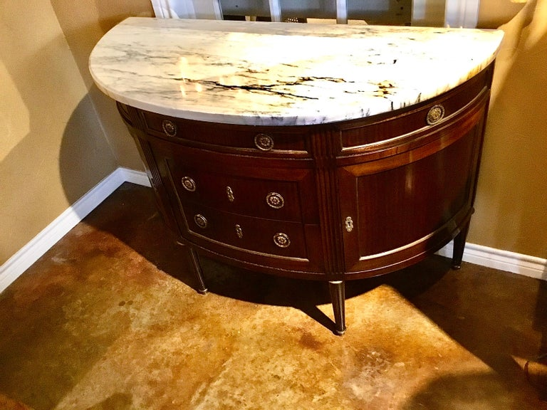 French Louis XVI Style White Marble Top Demilune Cabinet, Mahogany Case For Sale 2