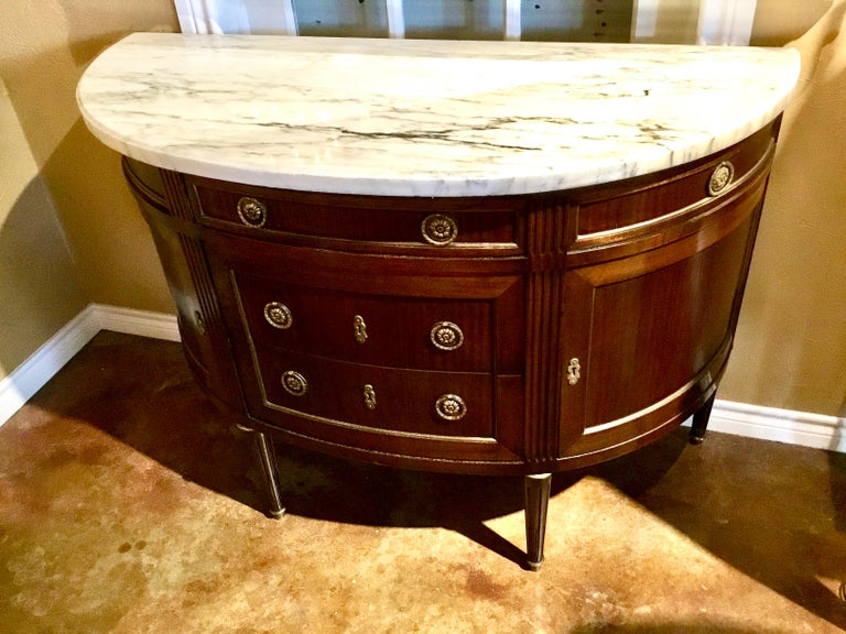 French Louis XVI Style White Marble Top Demilune Cabinet, Mahogany Case For Sale 5