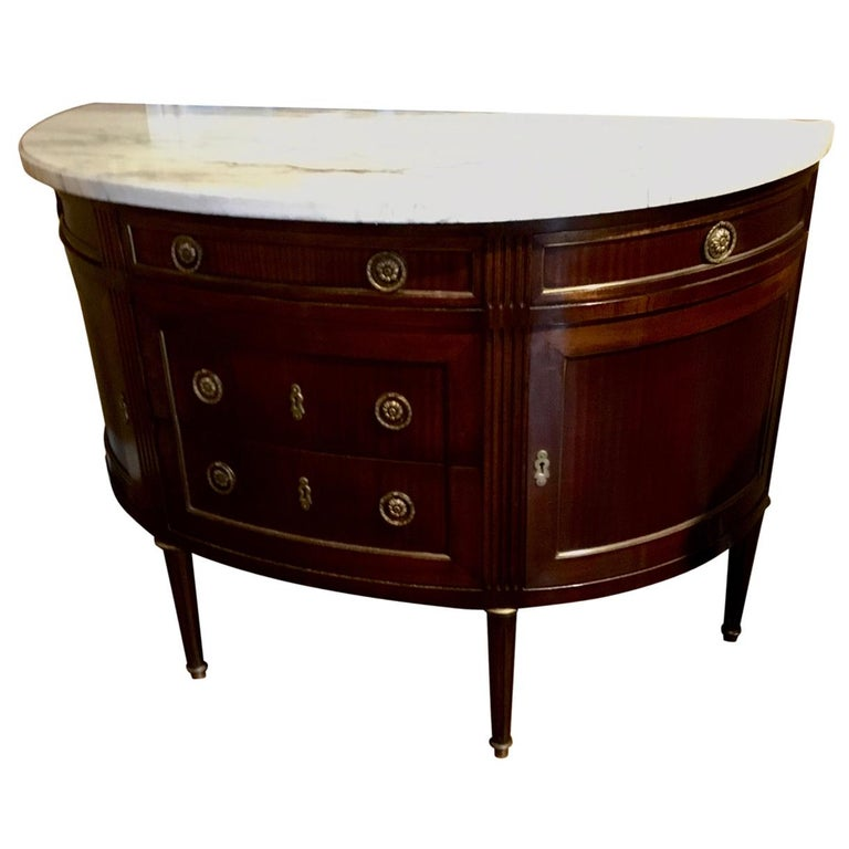 French Louis XVI Style White Marble Top Demilune Cabinet, Mahogany Case For Sale