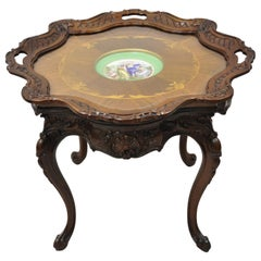 French Louis XV Inlaid Coffee Table with French Angelica Kauffman Porcelain Dish