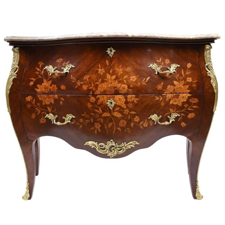 Louis XV Inlay Marble Commode