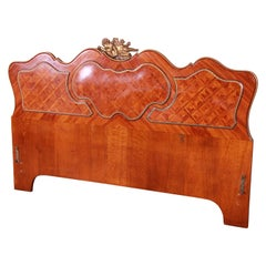 French Louis XV Inlaid Mahogany and Bronze Ormolu Queen Headboard, circa 1920s