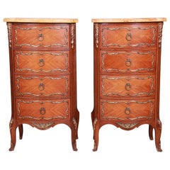 French Louis XV Inlaid Mahogany Four-Drawer Nightstands, Pair