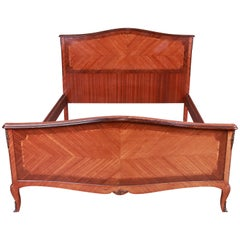 French Louis XV Inlaid Mahogany Queen Size Bed
