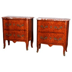 French Louis XV Kingwood Inlaid and Marble Commodes, Manner of Francois Linke