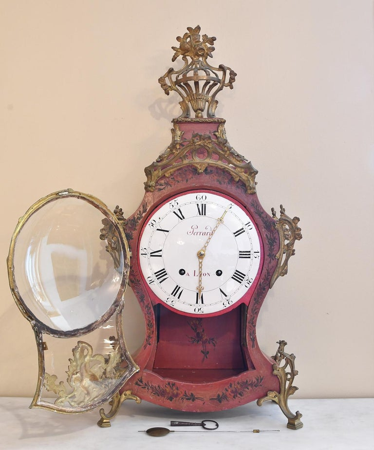 Rococo French Louis XV Mantel Clock with Ormolu and Hand Painted Flowers by Perrard For Sale