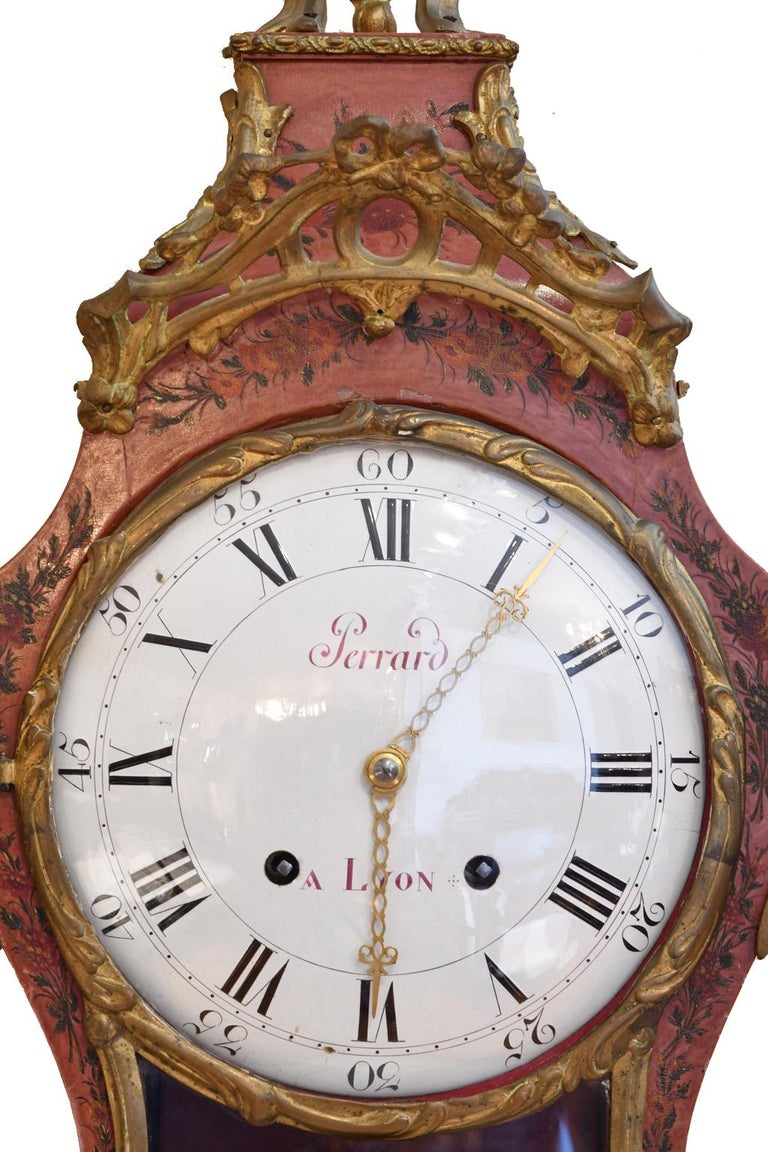 Cast French Louis XV Mantel Clock with Ormolu and Hand Painted Flowers by Perrard For Sale