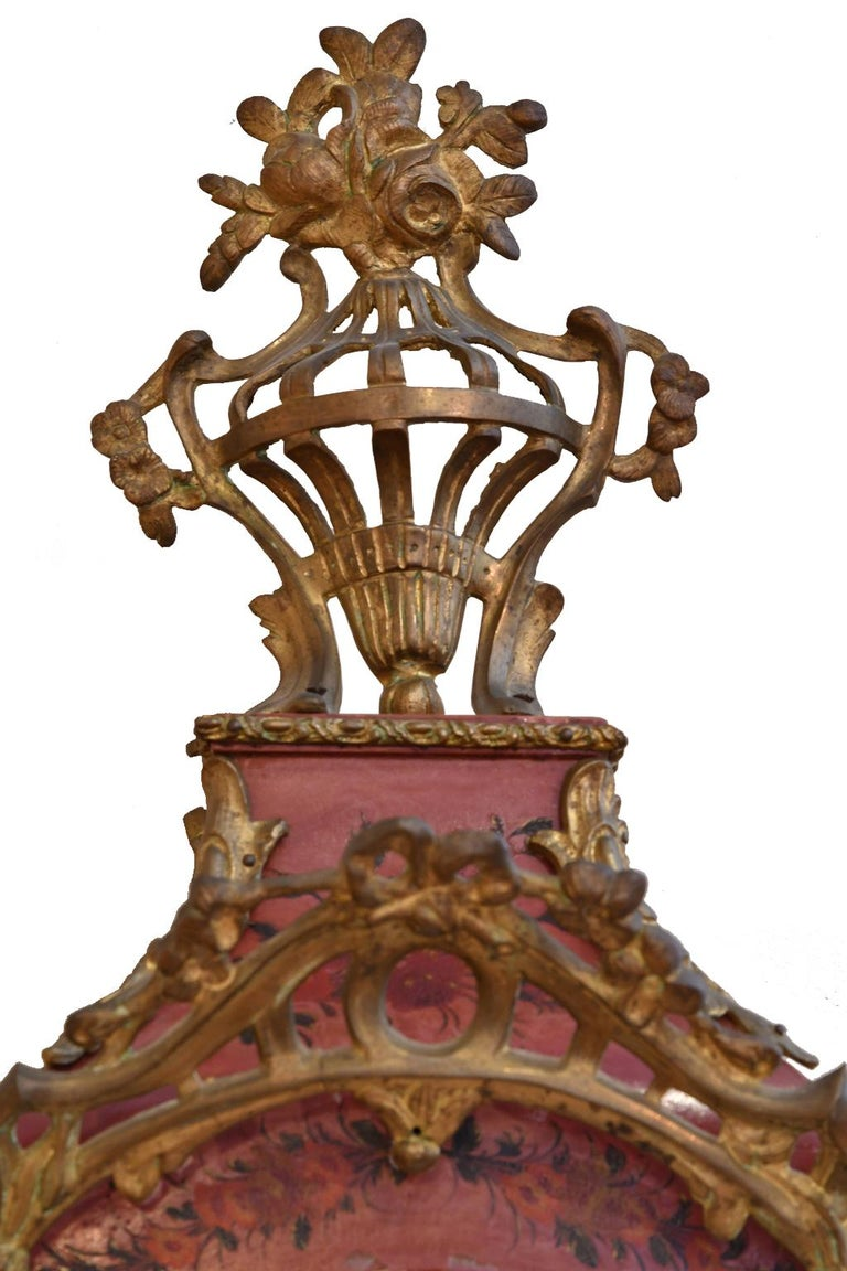 French Louis XV Mantel Clock with Ormolu and Hand Painted Flowers by Perrard In Good Condition For Sale In Miami, FL